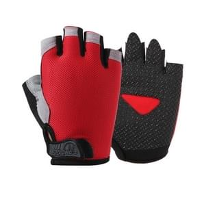 Summer Men Women Fitness Gloves Gym Weight Lifting Cycling Yoga Training Thin Breathable Antiskid Half Finger Gloves, Size:L(Red)
