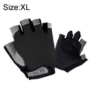 Zomer mannen vrouwen Fitness Handschoenen Gym Gewicht heffen Fietsen Yoga Training Thin Adembare Antiskid Half Finger Handschoenen  Size:XL (Zwart)