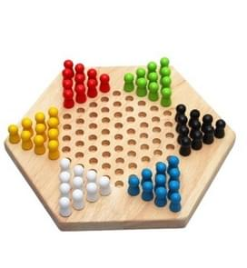 Traditional Hexagon Wooden Children Puzzle Checkers Family Game Set