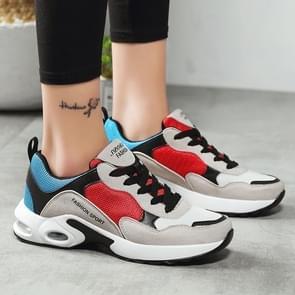 Women Footwear Breathable Mesh Sneaker Shoes, Size:35(Blue red)