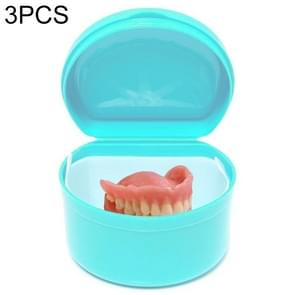 3 PCS Portable Partial Denture Storage Box Teeth Care Case Dental Tray Box(Green)