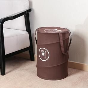 Handheld Foldable Oxford  Dirty Laundry Basket Wash Bag Hamper with Zipper(Brown)