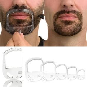 5 PCS Beard Shape Shower Salon Mustache Beard Styling Template Shaving Care Tool(Transparent)
