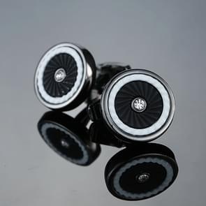 1 paar mannen staal laser graveren Manchetknopen voor bruiloft partij mode eenvoudige mannen mouw shirt manchet knoopjes (zilver + zwart)