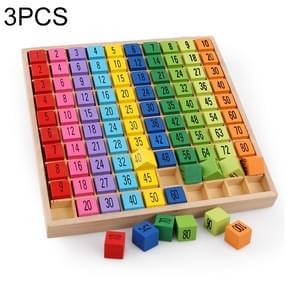 3 stuks Montessori educatieve houten speelgoed 99 vermenigvuldiging tabel math rekenkundige leermiddelen voor kinderen