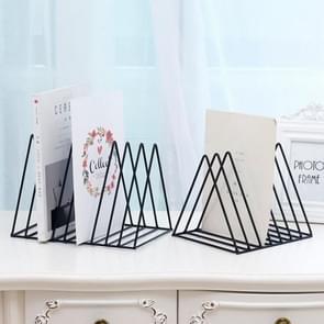 Driehoek eenvoudige ijzeren metalen Desktop opslag rack plank bestand Magazine Boekensteun Office rack briefpapier organisator houder (zwart)