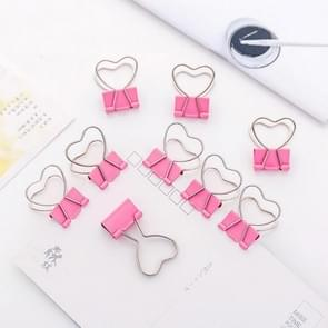 10 PCS Heart Hollow Metal Binder Clips Notes Letter Paper Clip Office Supplies