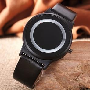 2pcs Couples Watch Harajuku Style Clock Candy Color PU Leather Strap Quartz Wrist Watches For Unisex Women Men(Black)