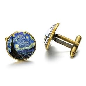 1 pair Fashion Van Gogh Art Painting Series Cufflinks Van Gogh Starry Night Crystal Glass Cabochon Cufflinks(Gold)