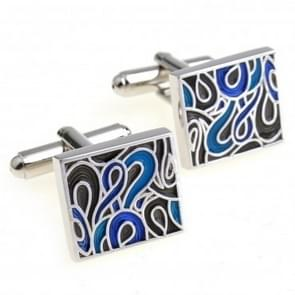 1 Pair Trendy Enamel Cufflink for Men / Women(Blue)