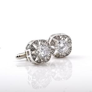 1 paar Fashion luxe Crystal Cufflinks(silver)