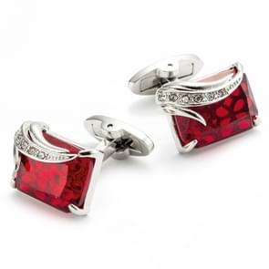 VAGULA 1 paar zilver Plating Red Zircon heren Shirt cufflinks(Sliver)
