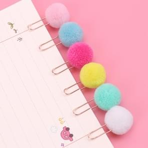 10 PCS Cute Hairball Rose Gold Clips Paper Clip Fashion Business Lady Style Office Stationery