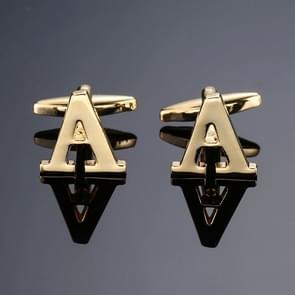 1 paar gouden letters A-Z naam Manchetknopen mannen Frans shirt Manchetknopen (A)