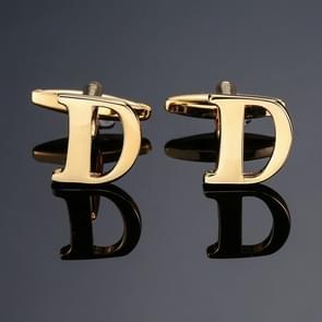 1 paar gouden letters A-Z naam Manchetknopen mannen Frans overhemd Manchetknopen (D)