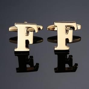 1 paar gouden letters A-Z naam Manchetknopen mannen Frans shirt Manchetknopen (F)