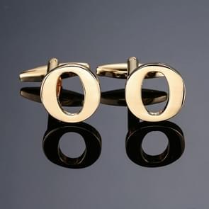 1 paar gouden letters A-Z naam Manchetknopen mannen Frans overhemd Manchetknopen (O)