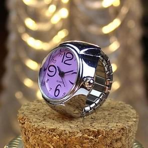 2PCS L04 Dial Quartz Analog Watch Creative Steel Cool Elastic Quartz Finger Ring Watch for Men / Women(Purple)