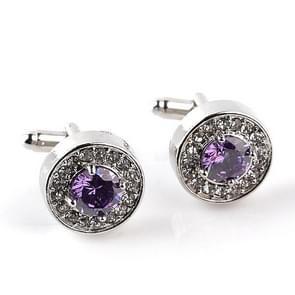 Fasion Men Rhinestone Cufflinks Luxury Round Zircon Crystal Cuff Links(Purple)