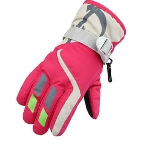 Outdoor kinderen dikke warme skiën handschoenen  een paar (Rose rood)