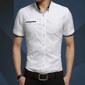 Mannen Business shirt korte mouwen turn-down kraag shirt  grootte: 4XL (wit)