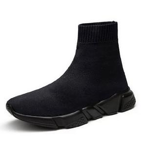 Knit Upper Breathable Sport Sock Boots Chunky Sneakers High Top Running Shoes for Men /  Women, Shoe Size:47(Black)
