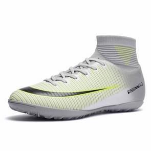 Hoge Top antislip-Wearable en comfortabele Football laarzen Soccer schoenplaatjes voor mannen, schoen grootte: 5.5(TF White)