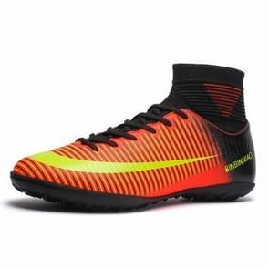 Hoge Top antislip-Wearable en comfortabele Football laarzen Soccer schoenplaatjes voor mannen, schoen grootte: 7.5(TF Black Orange)
