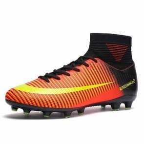 Hoge Top antislip-Wearable en comfortabele Football laarzen Soccer schoenplaatjes voor mannen, schoen grootte: 8(Long Spikes Black Orange)