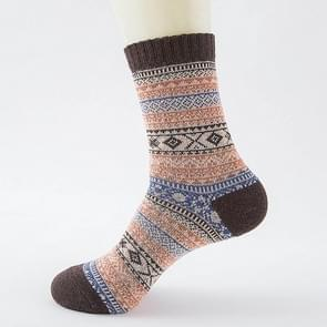 3 paar herfst en Winter mannen dik konijn wol nationale Wind Square Tube Socks(Coffee)