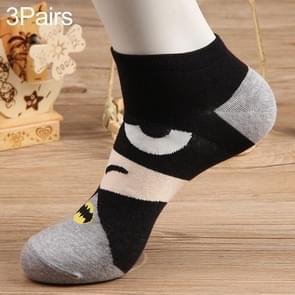 3 paar katoen Cartoon patroon zomer Trend mannen sokken boot sokken (grijs zwart)