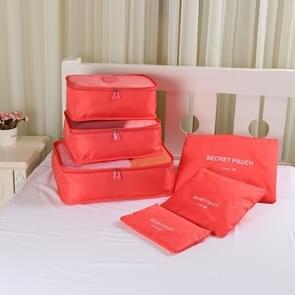 30 sets Oxford doek Mesh tas Bagage organisator kubus kleding reisorganisator (1 Set = 6 PCS)(Red)