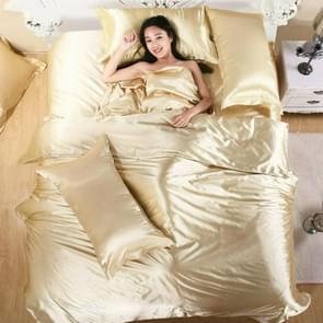 Pure Satin Silk Bedding Set Home Textile Bed Set Bedclothes Duvet Cover Sheet Pillowcases, Size:2.0m bed four-piece set(Camel)