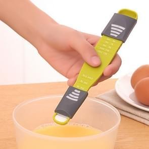 Double-Head Nine-Speed verstelbare keuken meten lepel (groen)