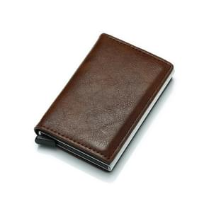 Automatic Elastic Card Type Anti-magnetic RFID Anti-theft Retro Card Package Universal Leather Metal Wallet(Coffee )