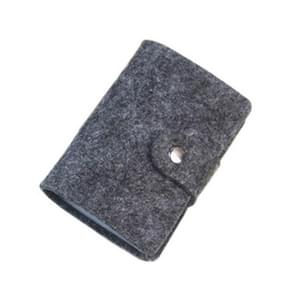 3 PCS Vintage Wool Felt 24 Multi-card Card Package Bus Bank Card Bag(Dark Grey)