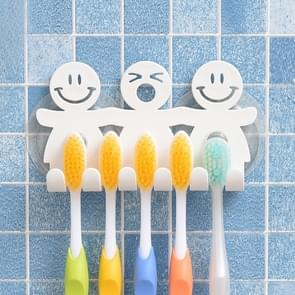 5 PCS Cute Smiley Suction Cup Hanging Toothbrush Holder Plastic Small Person Teeth Holder