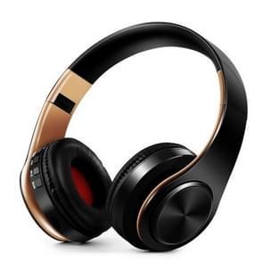 Koptelefoon Bluetooth headset koptelefoon draadloze koptelefoon stereo opvouwbare sport oortelefoon microfoon headset Free MP3-speler (goud zwart)
