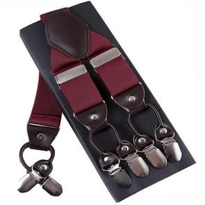 Adjustable 6 Clips Trousers Strap Clip for Men, Size: 125 x 3.5cm(Red)