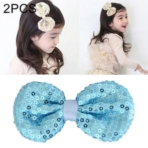 2 PCS Bow Headdress Multi-layer Sequin Cute Baby Girls Hair Accessories, Size: 8x3.5cm(Baby blue)