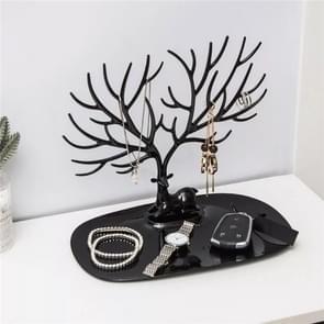 Kunststof gewei vormige creatieve ring Lipstick rack ketting sieraden cosmetische opslag display Organizer (zwart)