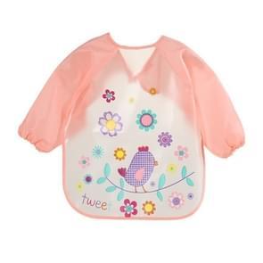 Baby Bibs Waterproof Long Sleeve Apron, Size:One Size(Pink Bird)