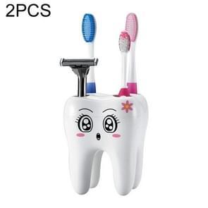 2 PCS Cartoon Teeth Shape 4 Holes Toothbrush Holder Stand Brush Rack Tooth Brush Shelf Shaving Razor Storage Holder