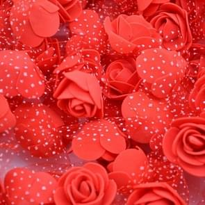 50 PCS Mini PE Foam Rose Heads Artificial Silk Flowers DIY Velvet Wedding Decorations , Size: 3.5cm(Red)