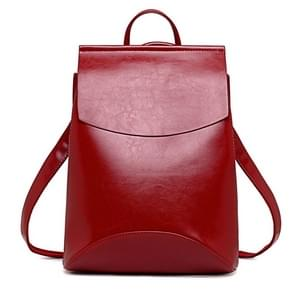 Fashion Women Backpack Youth Leather Backpacks for Teenage Girls Female School Double-Shoulder Bag(Red)
