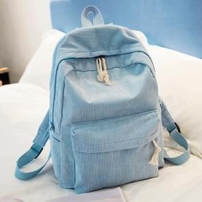 Zachte stof rugzak vrouwelijke corduroy design school rugzak voor tiener meisjes vrouwen (licht blauw)