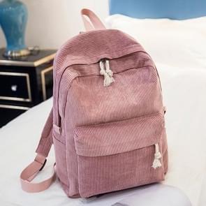 Soft Fabric Backpack Female Corduroy Design School Backpack for Teenage Girls Women(Pink)
