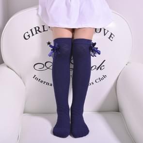 3 paar kinderen Tube sokken mesh Bow prinses sokken vierkant raster over kniekousen  maat: 43cm (Navy)