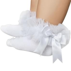 3 Pairs Bow Lace Socks Baby Cotton Ankle Socks, Size:M(White Socks White Bow)
