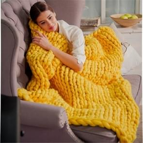 Fashion Handmade Knitted Wool Blanket, Size:80X100cm(Yellow)